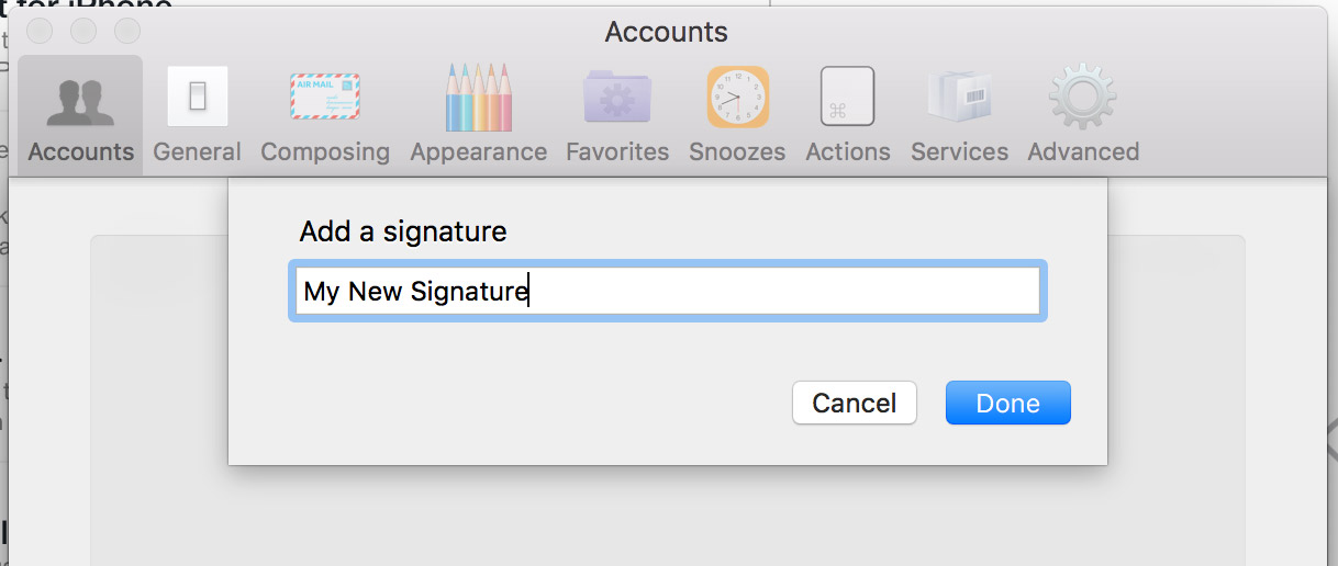 Enter a name for your signature and click done