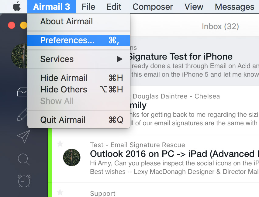 open airmail 3 and go to your preferences