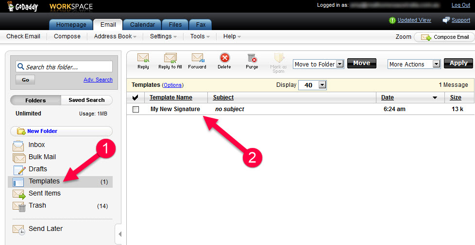 Compose a new email from your installed signature