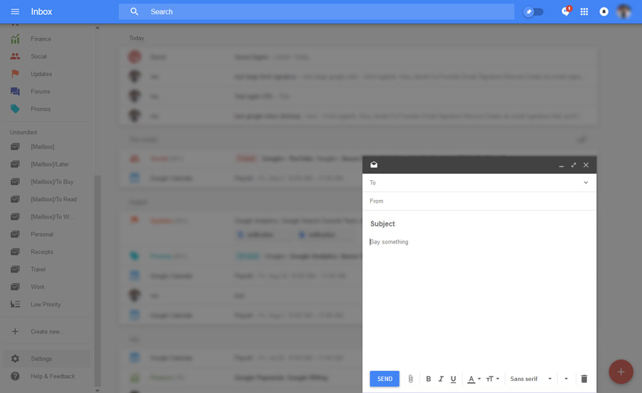 google inbox email signature compose