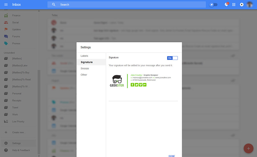 paste google inbox email signature