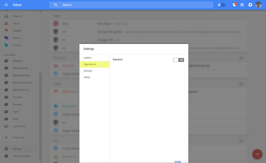 google inbox signature settings