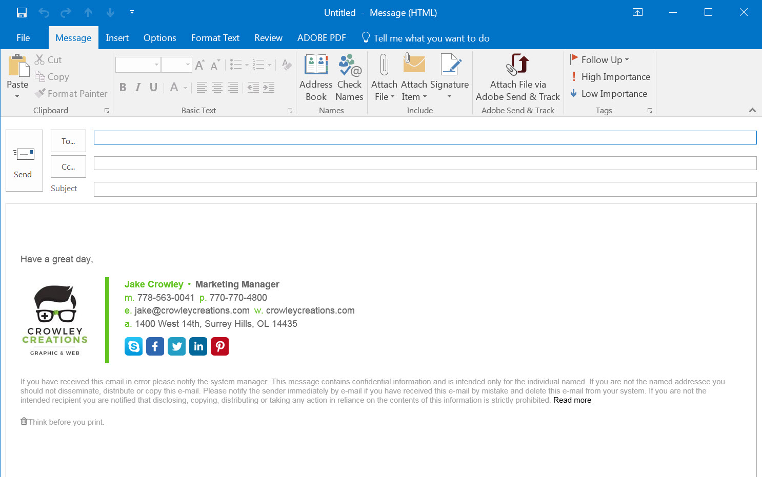 How to add change setup install email signature outlook for How to open outlook template