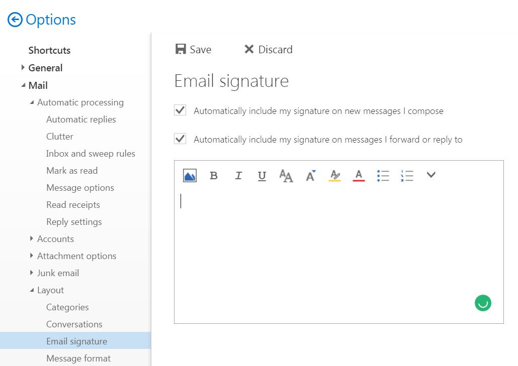 select email signature settings