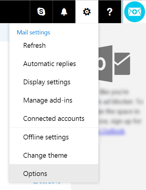 select the settings icon then options
