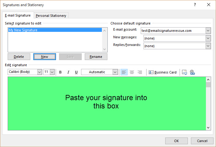 Paste Signature into Outlook 2013