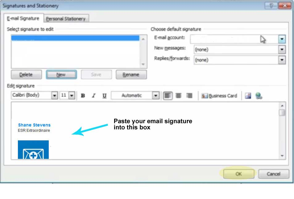 Step Eight, paste your signature