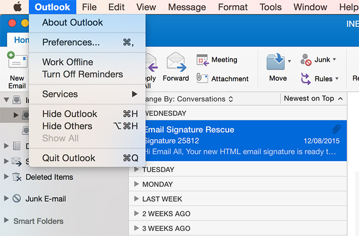 Outlook 2016 Preferences