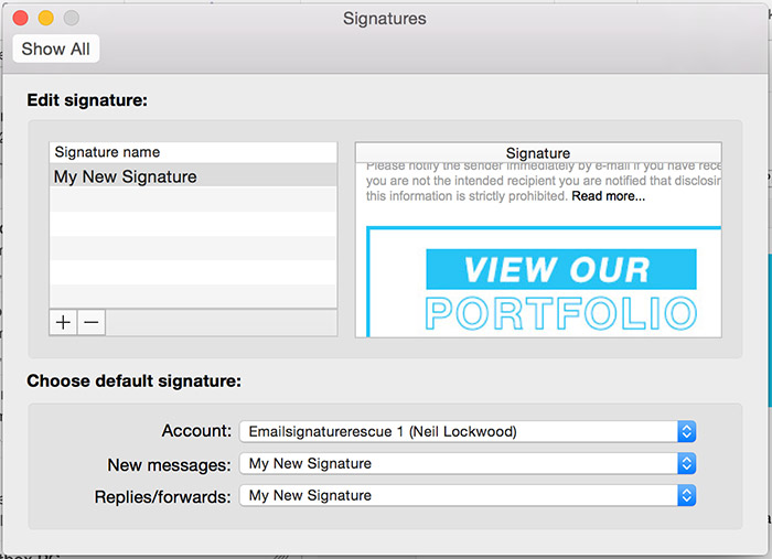 Paste your email signature