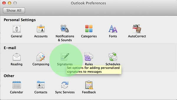 Select Signatures from your Preferences