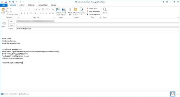 plain text outlook signature fixed