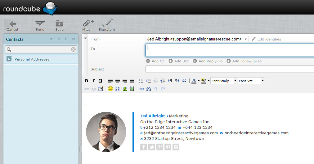 Step Nine - Compose a new message and you will see your HTML email signature installed and ready to send