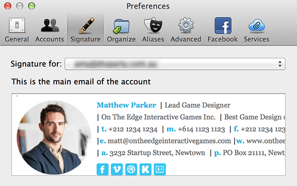 paste HTML email signature into sparrow