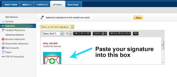 Step Six, paste your signature into yahoo mail
