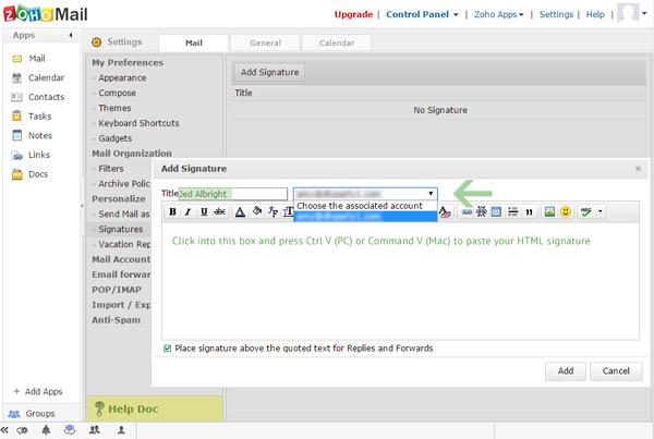 Zoho Mail signature name and assign email account and paste HTML signature