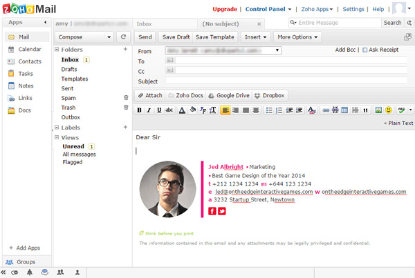 Zoho Mail compose with HTML signature