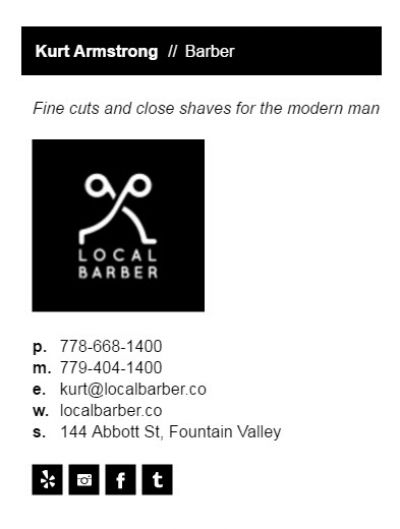 Email Signature for Barbers - Color Bar Vertical Template
