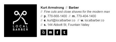 Email Signature for Barbers - Horizontal Template