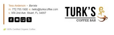 Email Signatures for Baristas - Horizontal Bar Template