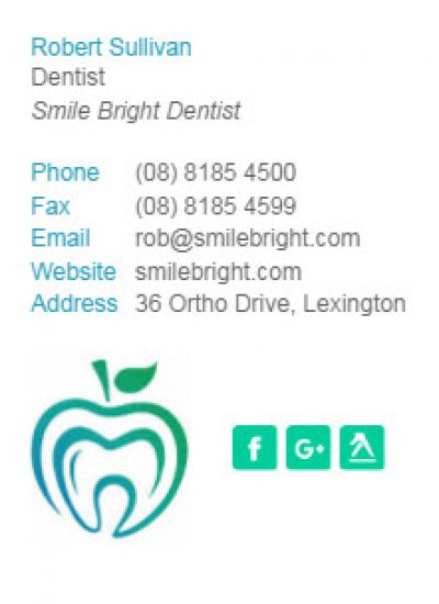 Email Signatures for Small Business - Dentist Template