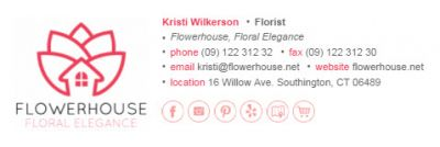 Email Signatures for Florists - Horizontal