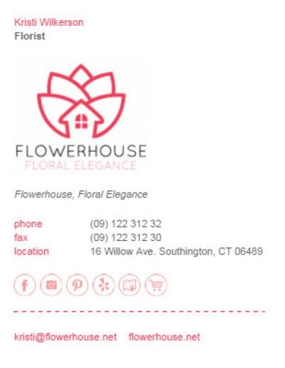 Email Signatures for Florists - Neptune Template