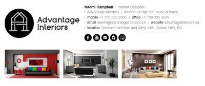 Email Signatures for Interior Designers -Horizontal Template