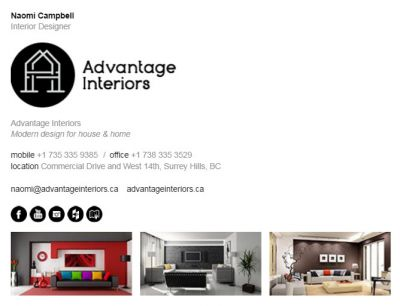 Email Signatures for Interior Designers - The Business 2 Template