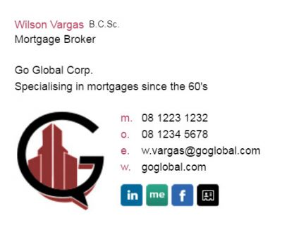 Email signatures for Mortgage Brokers - Biz Edge Template