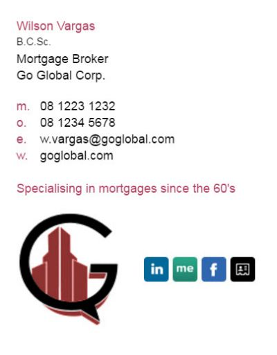 Email signatures for Mortgage Brokers - Corporate Template