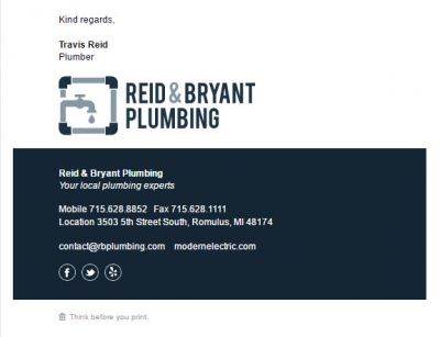 Understated Template for Plumbers