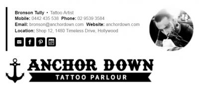 Professional Email Signatures for Tattoo Artists - Horizontal Template