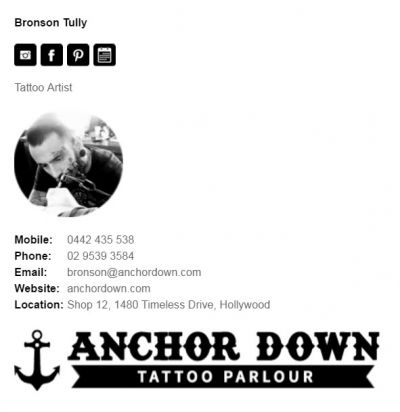 Professional Email Signatures for Tattoo Artists - Socialite Template